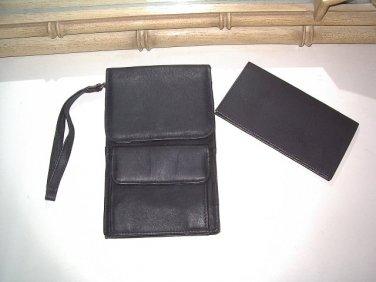 Belt Loop Purse Passport Travel Checkbook removable wrist strap BLACK