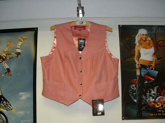 Leather King Pink Leather Vest  **Close Out Price**