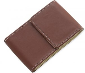 BRAND NEW Brown Leather Stitchie Card Case
