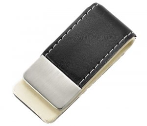 BRAND NEW Black Leather Stitchie Money Clip