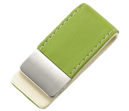 BRAND NEW Green Leather Stitchie Business Card Holder