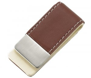 BRAND NEW Brown Leather Stitchie Money Clip