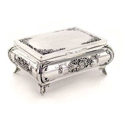 Footed Floral Design Silver Plated Jewelry and Trinket Box
