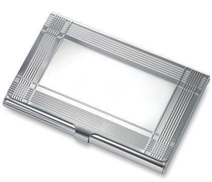 Silver Business Card Case Crossing Stripes BRAND NEW