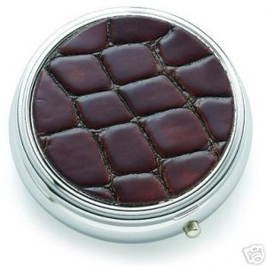 Brown and Silver Round Push Button Open Pill Box Brand New
