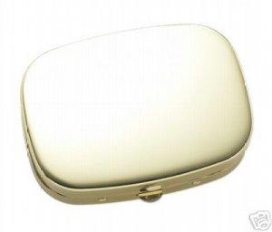 Gold 3 Chamber Pill Box push button open Brand NEW