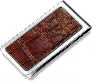 Brand New Brown Crocodile Texture Money Clip