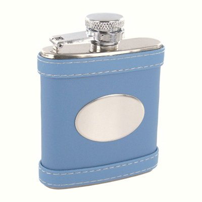 Blue Leather Pocket Flask Personalize!