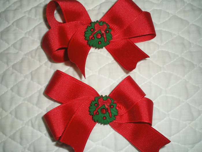 Pair of toddler holiday hairbows