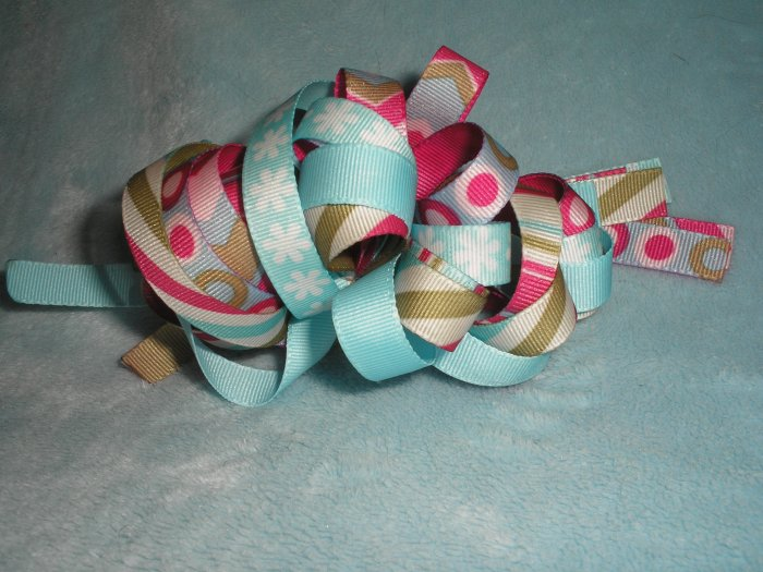 Icy Blue Christmas Loopy hairbow!