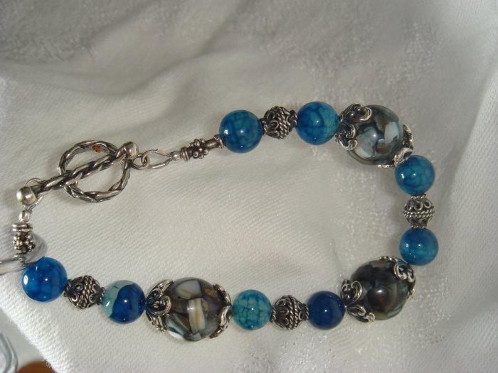 Shades of Blue Mosaic Bali Bracelet