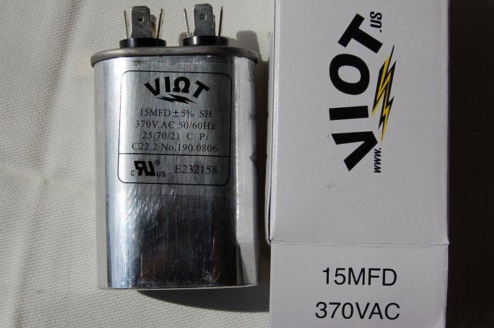 Cap 15 uFDCompressor Furnace Blower Fan  Motor Start Run Capacitor Oval 370V UL Listed