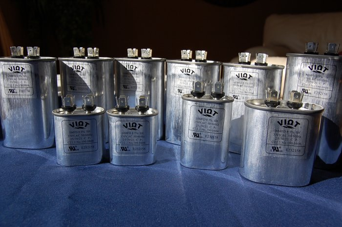 Lot:10-in-a-set Capacitors 5 to 50 uFD Compressor Furnace Blower Fan Motor Start Run HVAC Workshop