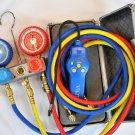 Maifold gauge+5ft hose+Halogen Refrigerant Leak Detector+Pump X-Sensor Tip HVAC