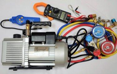 HVAC Tool Set Kit:Vacuum Pump+Leak Detector+Clamp Meter