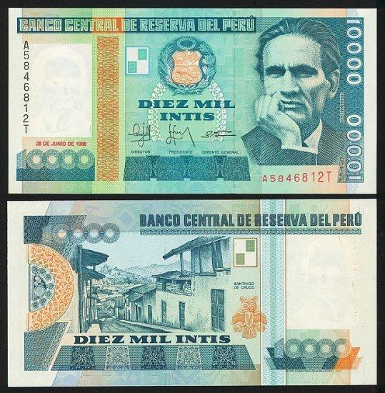 Peru banknote 1988 10000 intis UNC