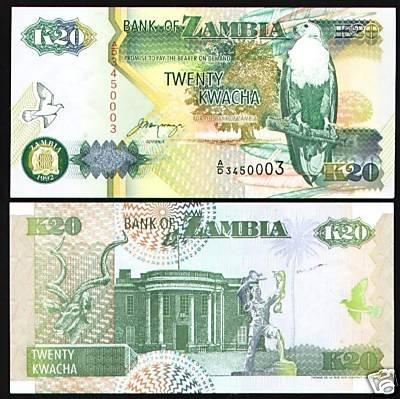 Zambia banknote 1992 20 kwacha UNC