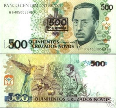Brazil banknote 1990 500 CRUZEIROS ON 500 CRUZADOS NOVOS UNC