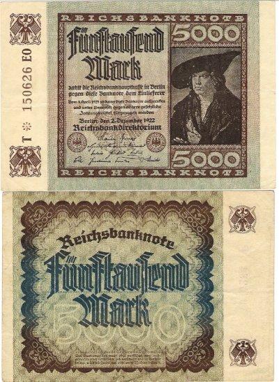 Germany banknote 1922 5000 mark gVF