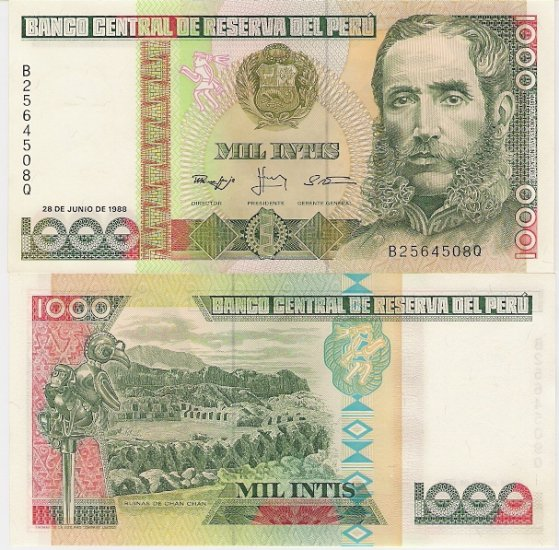 Peru banknote 1988 1000 intis UNC
