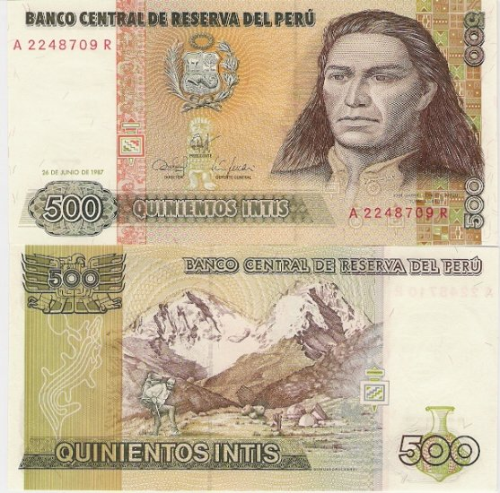 Peru banknote 1987 500 intis UNC