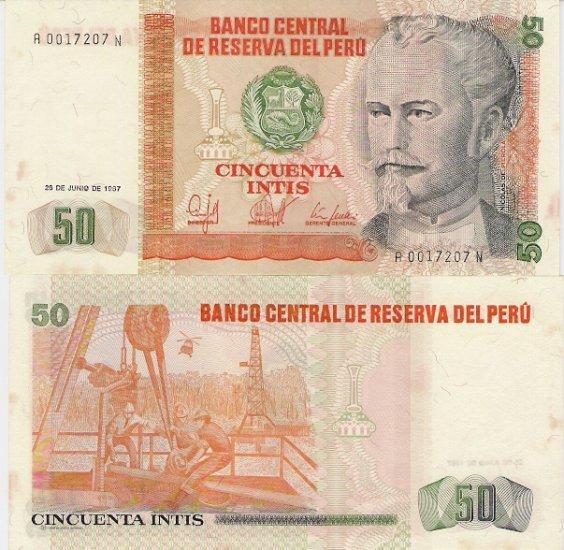 Peru banknote 1987 50 intis UNC