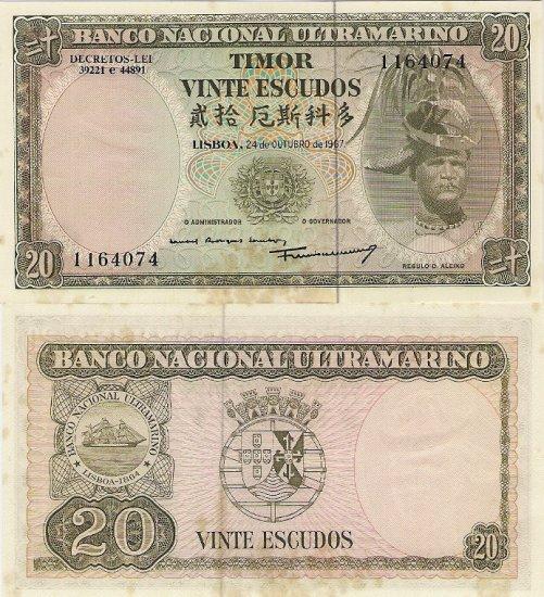 Portugal Timor banknote 1967 20 escudos aUNC (FOXING)