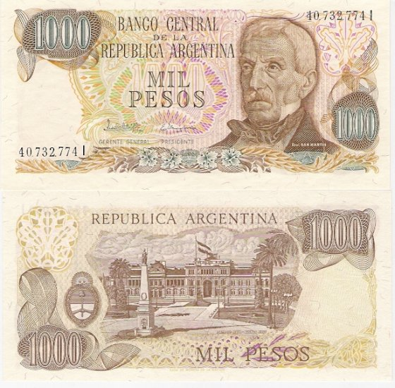 Argentina banknote ND 1985 1000 pesos UNC