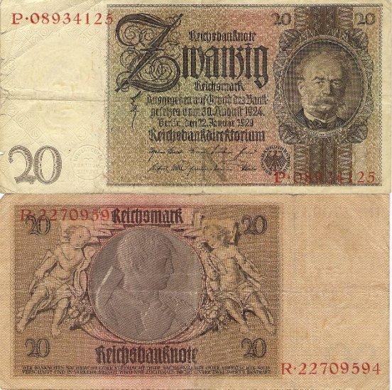 Germany banknote 1929 20 mark VF