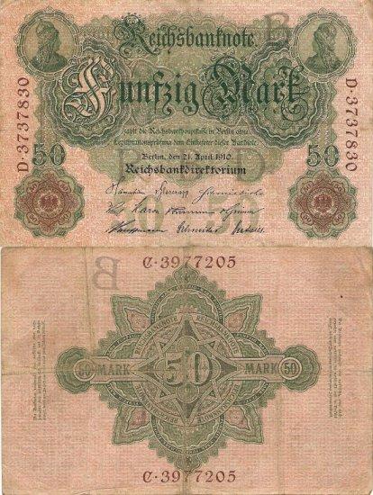 Germany OLD banknote 1910 50 mark VF