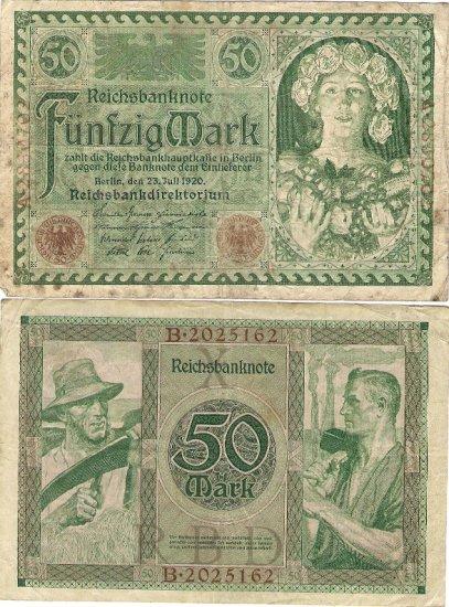 Germany OLD banknote 1920 50 mark gF