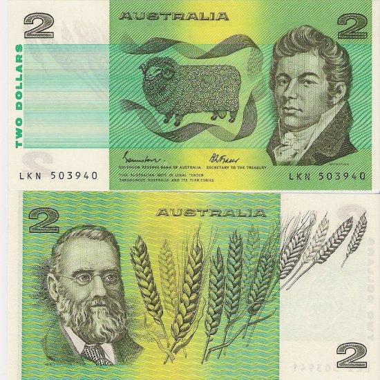 Australia banknotes 1985 2 dollars UNC [consecutive pair]