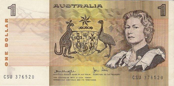 Australia banknotes 1979 1 dollar gVF