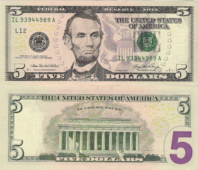 USA banknotes 2006 5 dollars UNC