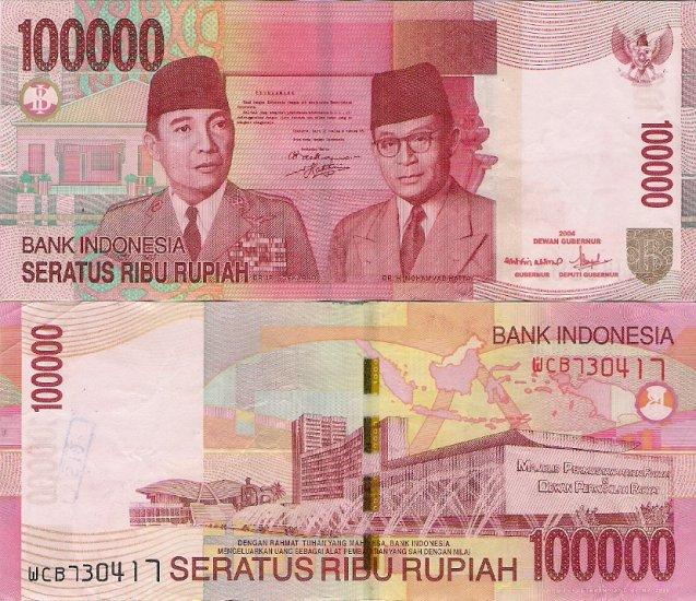 Indonesia banknote 2004 100000 rupiah gVF