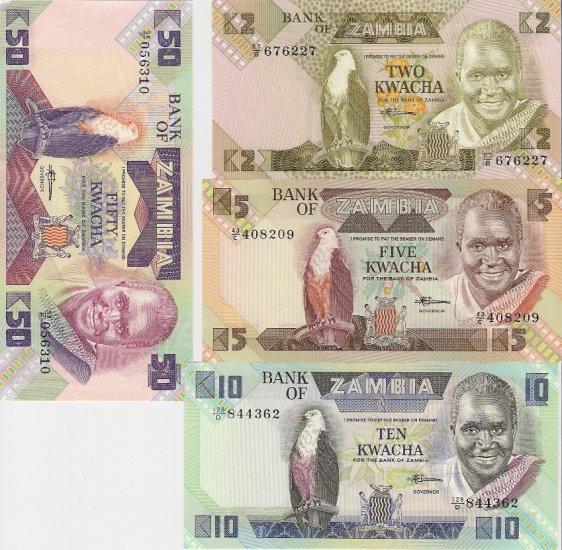 Zambia banknotes set ND (1980-1986) 2-5-10-50 kwacha UNC