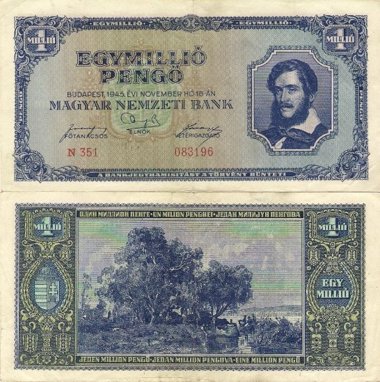 Hungary banknote 1945 1 million pengo money F-VF
