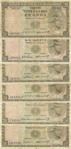 Portugal Timor banknotes 1967 20 escudos 6 DIFFERENT SIGNATURES gF-aVF