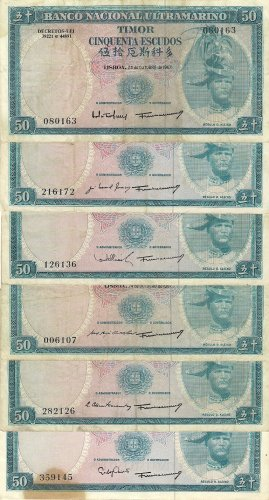 Portugal Timor banknotes 1967 50 escudos RARE 6 DIFFERENT SIGNATURES gVF