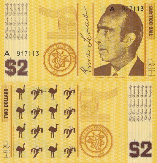 Hutt River Province near Western Australia banknote (1970) 2 dollars UNC