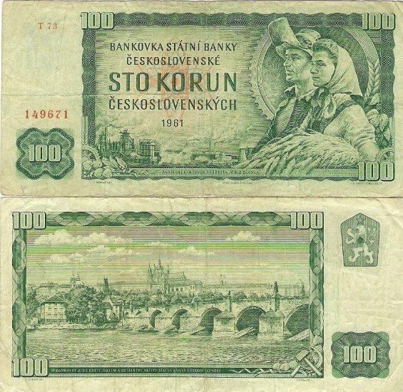 Czekoslovakia banknote 1961 100 korun money gVF PRAGUE