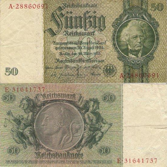 Germany banknote 1933 50 mark gVF 8 digit serial number
