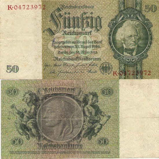 Germany banknote 1933 50 mark gVF W/O SN ON REVERSE W/M ORNAMENT--RARE