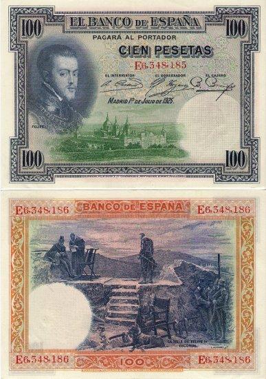Spain banknote 1925 100 pesetas gEF