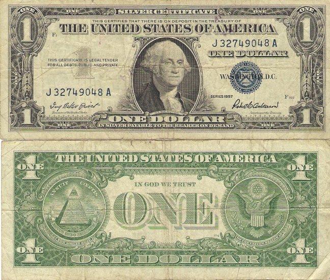 USA silver certificate 1957 1 dollar aVF-VF