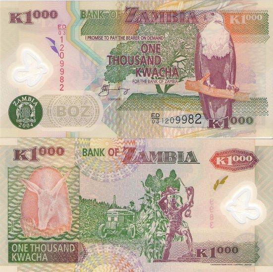 Zambia banknote 2004 1000 kwacha polymer UNC