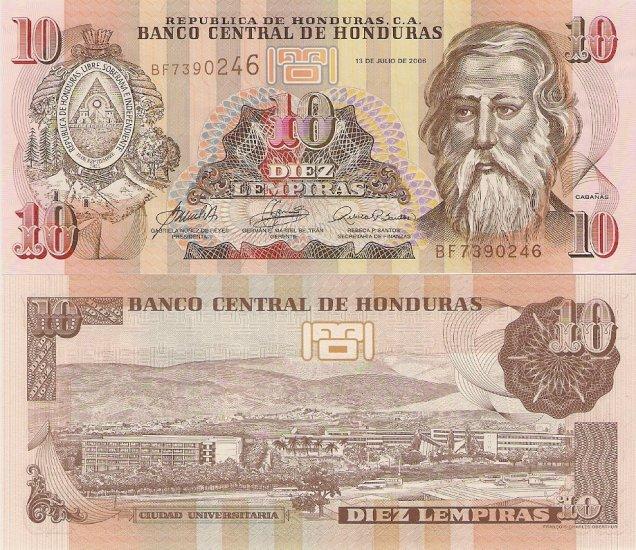 Honduras banknote 2004-6 10 lempiras UNC