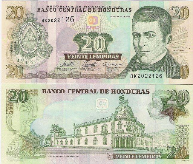 Honduras banknote 2006 20 lempiras UNC