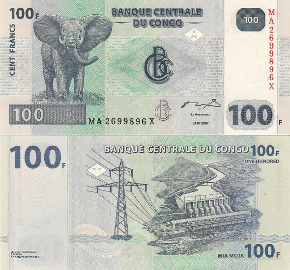 Congo banknote 2007 100 francs UNC