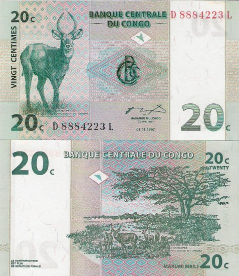 Congo banknote 1997 20 centimes UNC